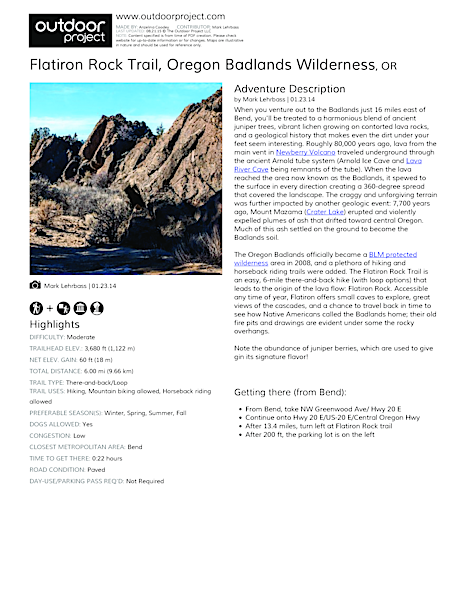 Flatiron Rock Trail Field Guide