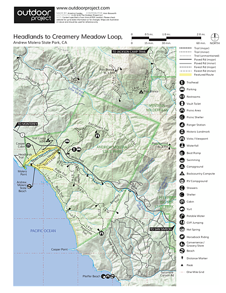 Headlands to Creamery Meadow Loop Trail Map