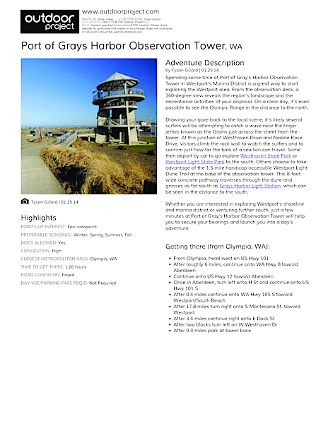 Port of Grays Harbor Observation Tower Field Guide