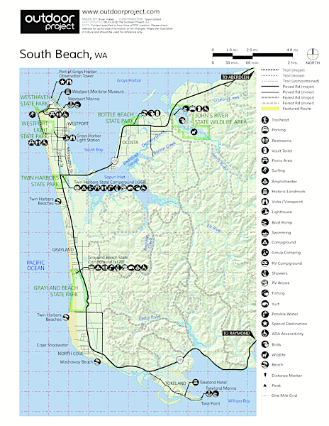 North Cove, Washaway Beach Map