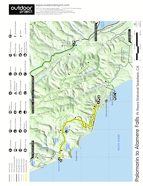 Palomarin Hike to Alamere Falls Trail Map