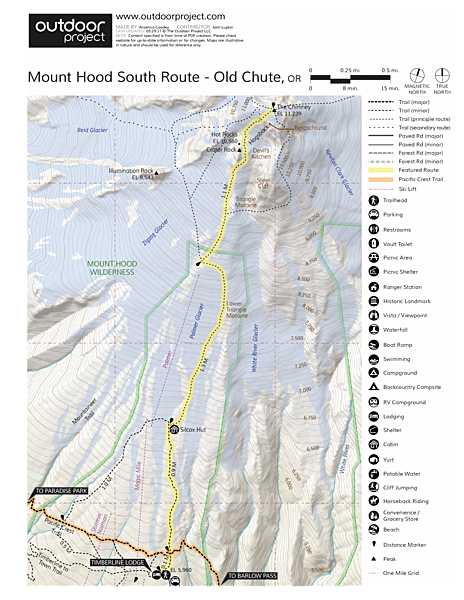 Mount Hood South Route: Old Chute Map