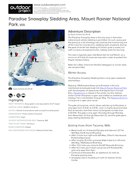 Paradise Snowplay Sledding Area Field Guide