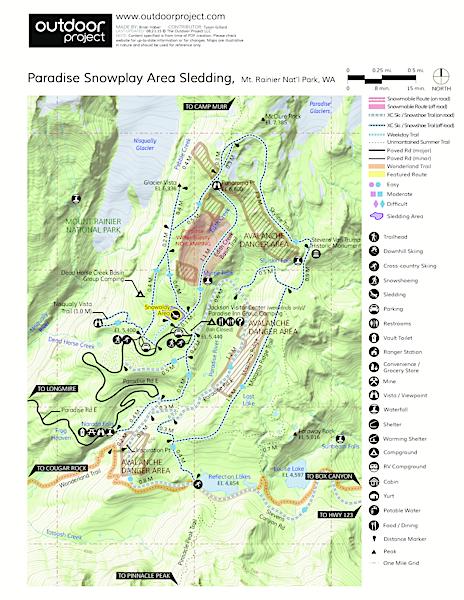 Paradise Snowplay Sledding Area Mount Rainier National Park - Map of the us but circle of paradise washington