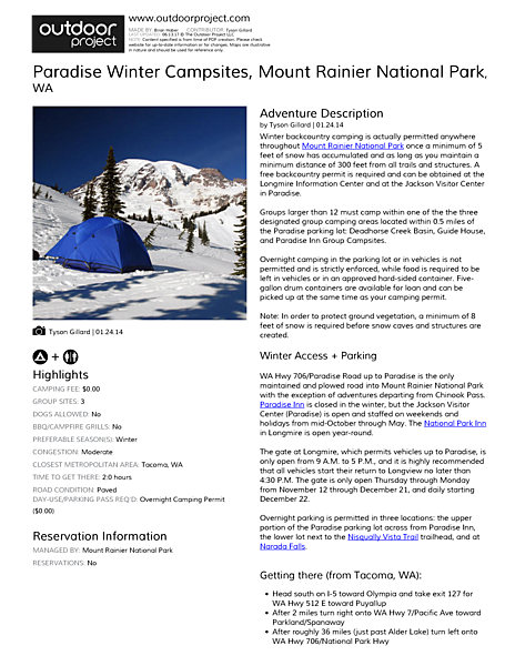 Paradise Winter Campsites Field Guide