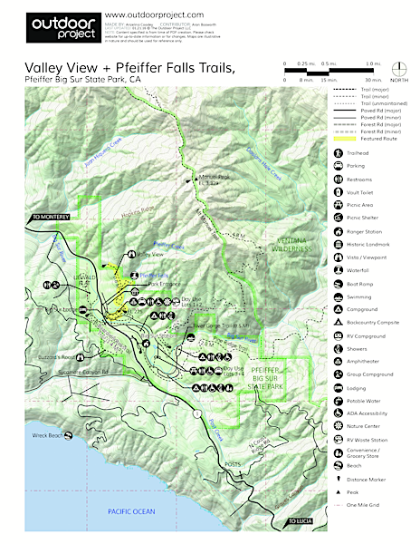 Valley View + Pfeiffer Falls Trail Hike Trail Map