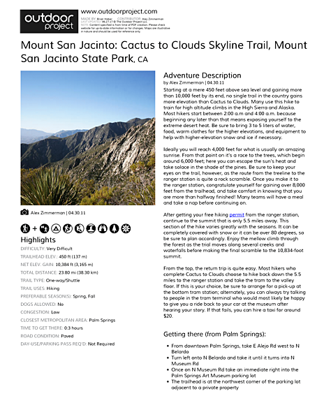 Mount San Jacinto: Cactus to Clouds Skyline Trail Field Guide