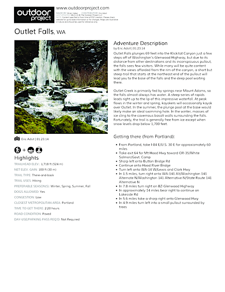 Outlet Falls Field Guide