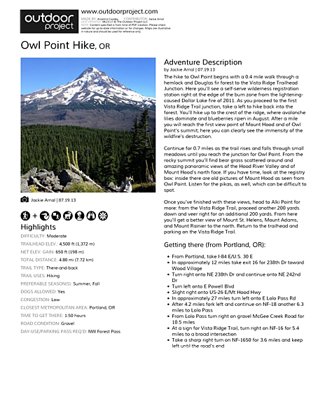 Owl Point Hike Field Guide