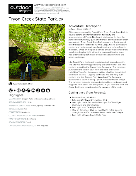 Tryon Creek State Park Field Guide