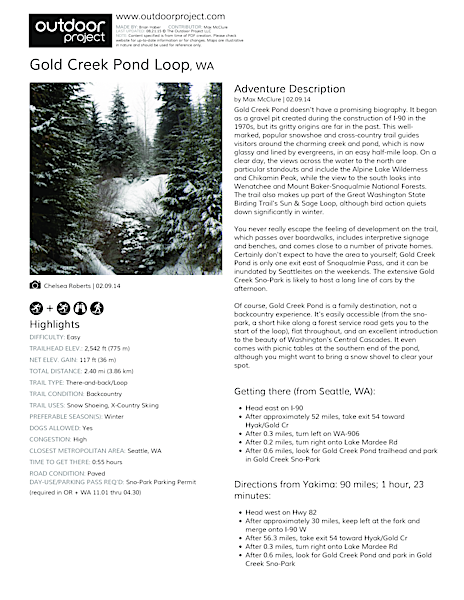 Gold Creek Pond Loop Field Guide