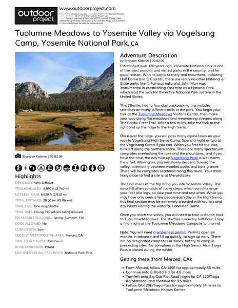 Tuolumne Meadows to Yosemite Valley via Vogelsang Camp Field Guide