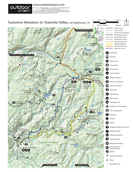 Tuolumne Meadows to Yosemite Valley via Vogelsang Camp Trail Map