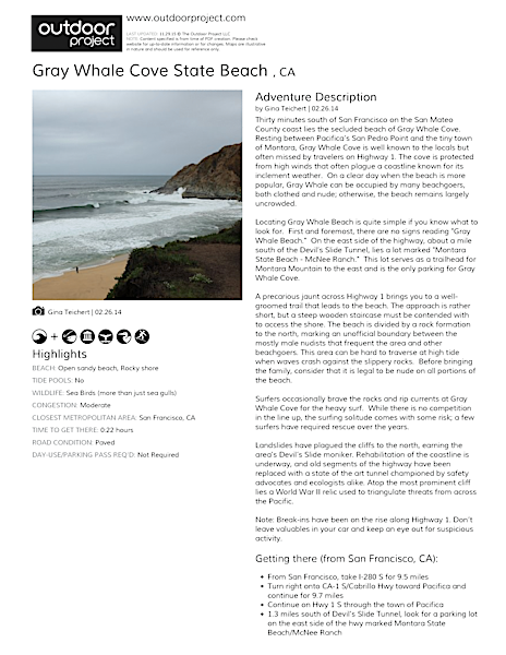 Gray Whale Cove State Beach  Field Guide