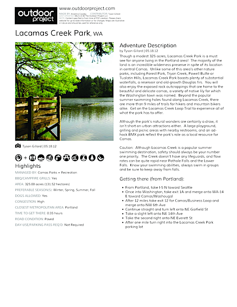 Lacamas Creek Park Field Guide