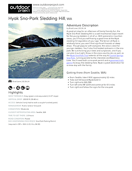 Hyak Sno-Park Sledding Hill Field Guide
