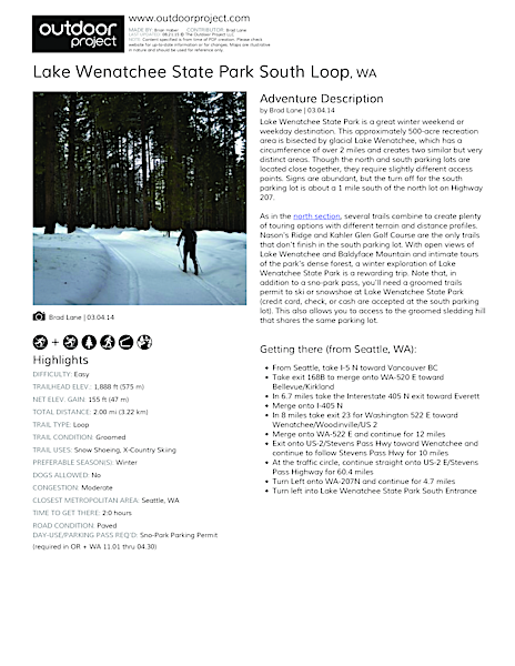 Lake Wenatchee State Park South Loop Field Guide