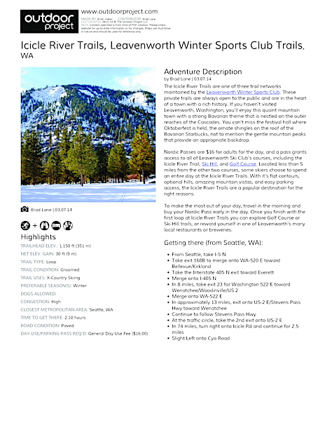 Icicle River Trails Field Guide