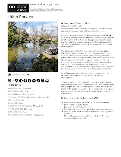 Lithia Park Field Guide