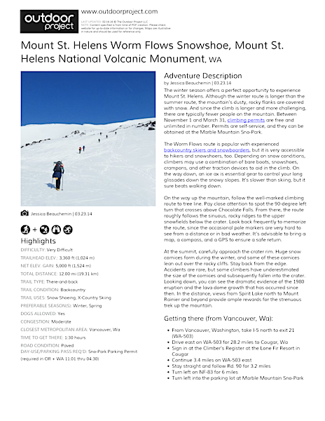Mount St. Helens Worm Flows Snowshoe Field Guide
