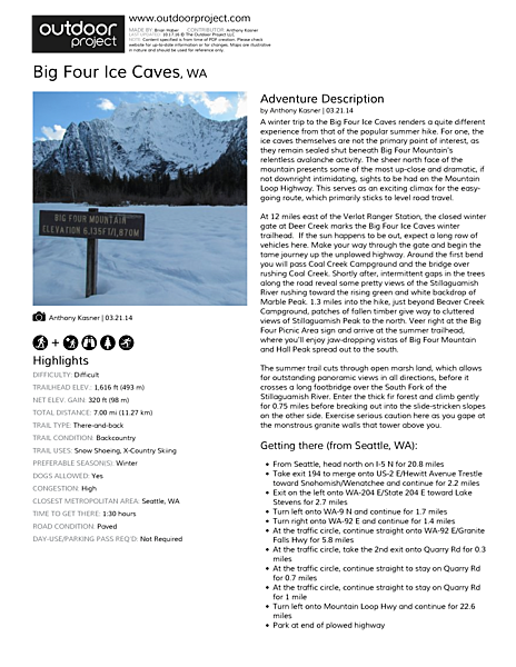 Big Four Ice Caves Field Guide