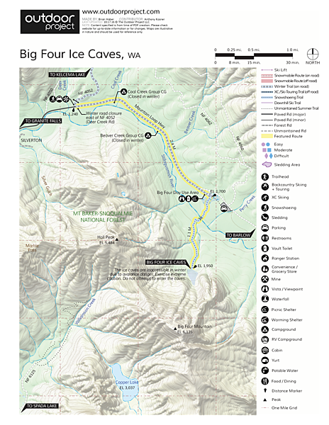 Big Four Ice Caves Map