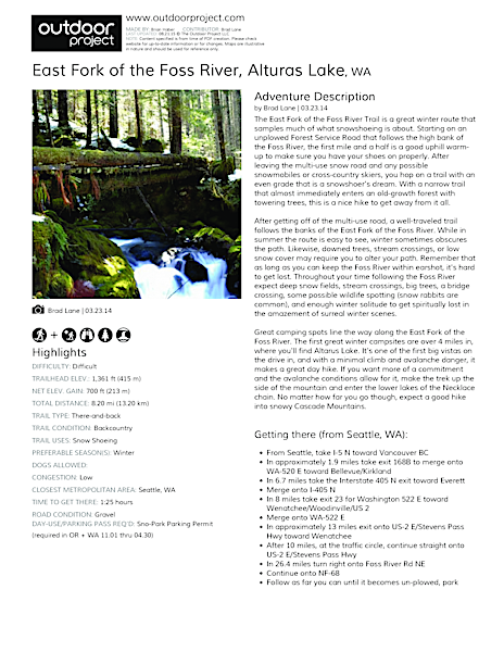 East Fork of the Foss River Field Guide