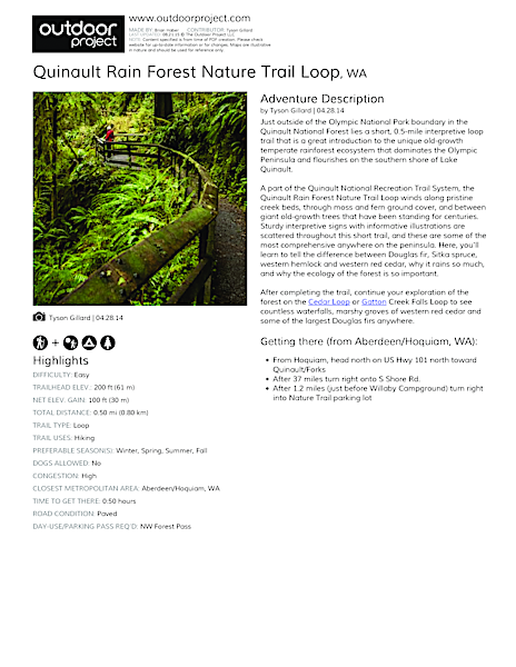 Quinault Rain Forest Nature Trail Loop Field Guide