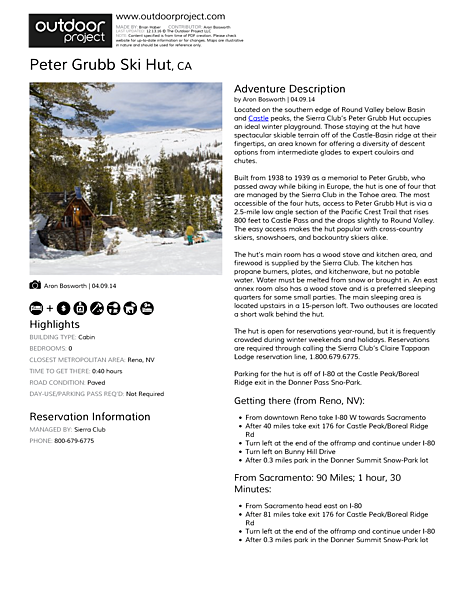 Peter Grubb Ski Hut Field Guide