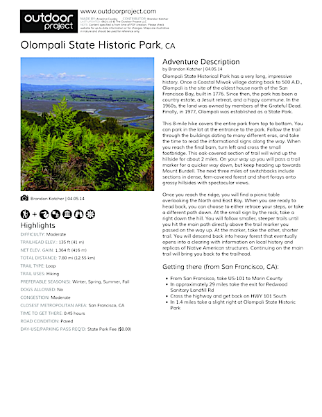 Olompali State Historic Park Field Guide