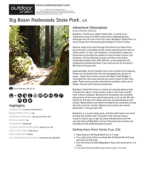 Big Basin Redwoods State Park  Field Guide