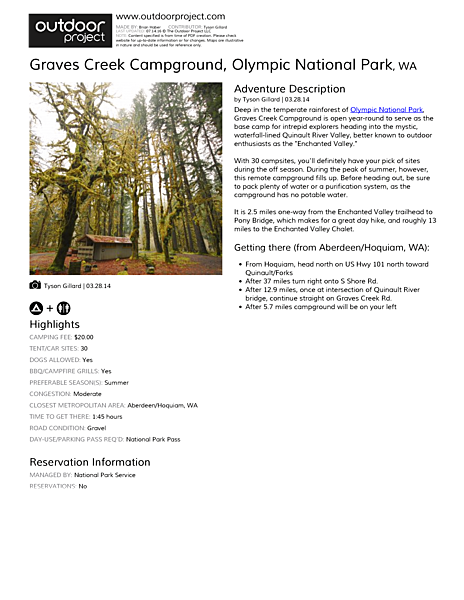 Graves Creek Campground Field Guide