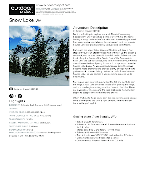 Snow Lake Field Guide
