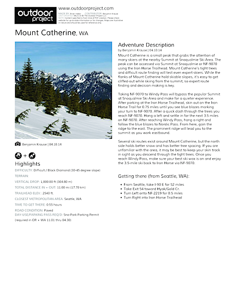 Mount Catherine Field Guide