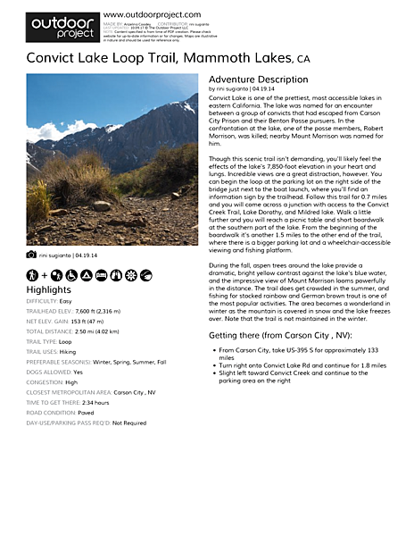 Convict Lake Loop Trail Field Guide