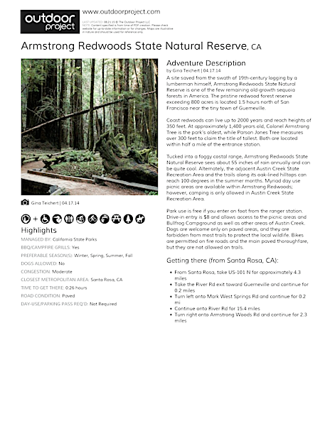 Armstrong Redwoods State Natural Reserve Field Guide