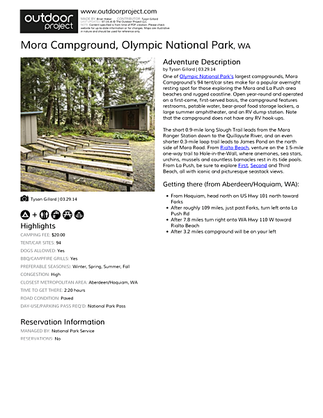 Mora Campground Field Guide
