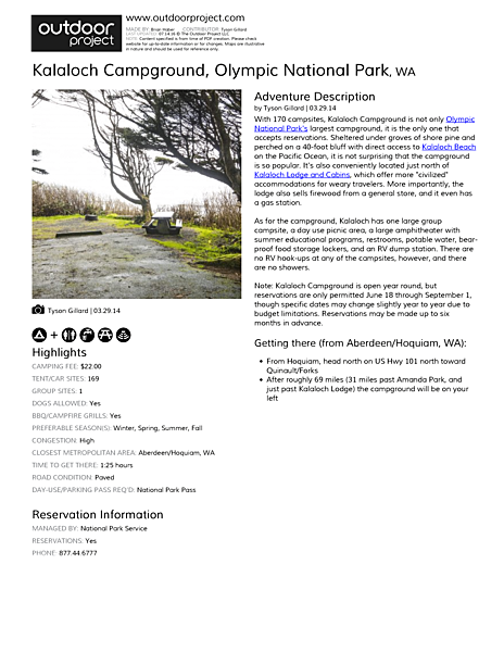 Kalaloch Campground Field Guide