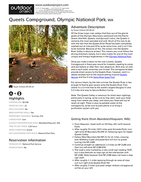 Queets Campground Field Guide
