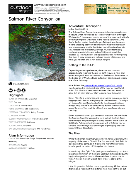 Salmon River Canyon Field Guide