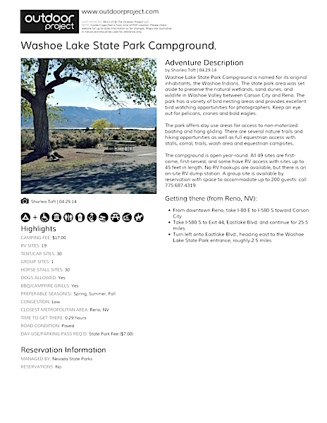 Washoe Lake State Park Campground Field Guide