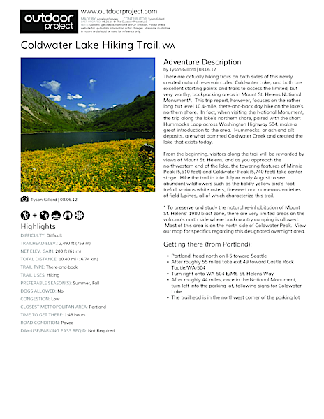 Coldwater Lake Hiking Trail Field Guide