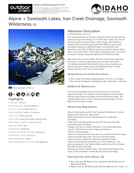Alpine + Sawtooth Lakes, Iron Creek Drainage Field Guide