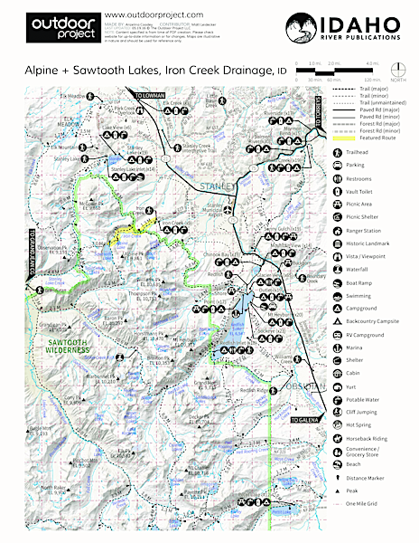 Alpine + Sawtooth Lakes, Iron Creek Drainage Trail Map