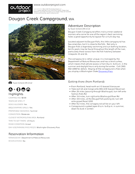 Dougan Creek Campground Field Guide
