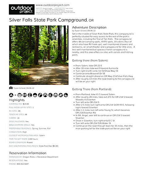 Silver Falls State Park Campground Field Guide