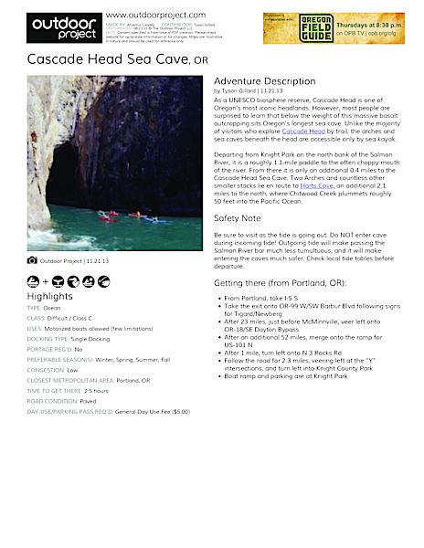 Cascade Head Sea Cave Field Guide