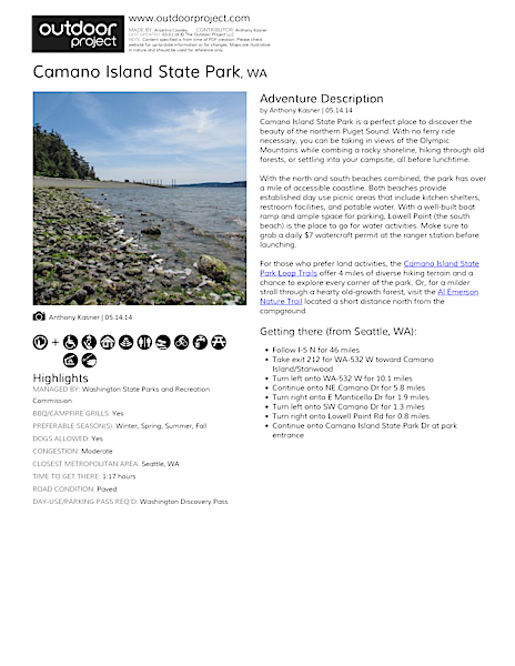 Camano Island State Park Map