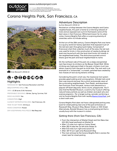 Corona Heights Park Field Guide