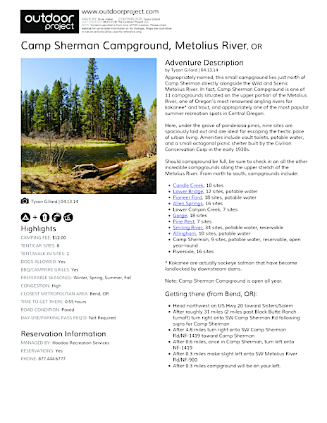 Camp Sherman Campground Field Guide